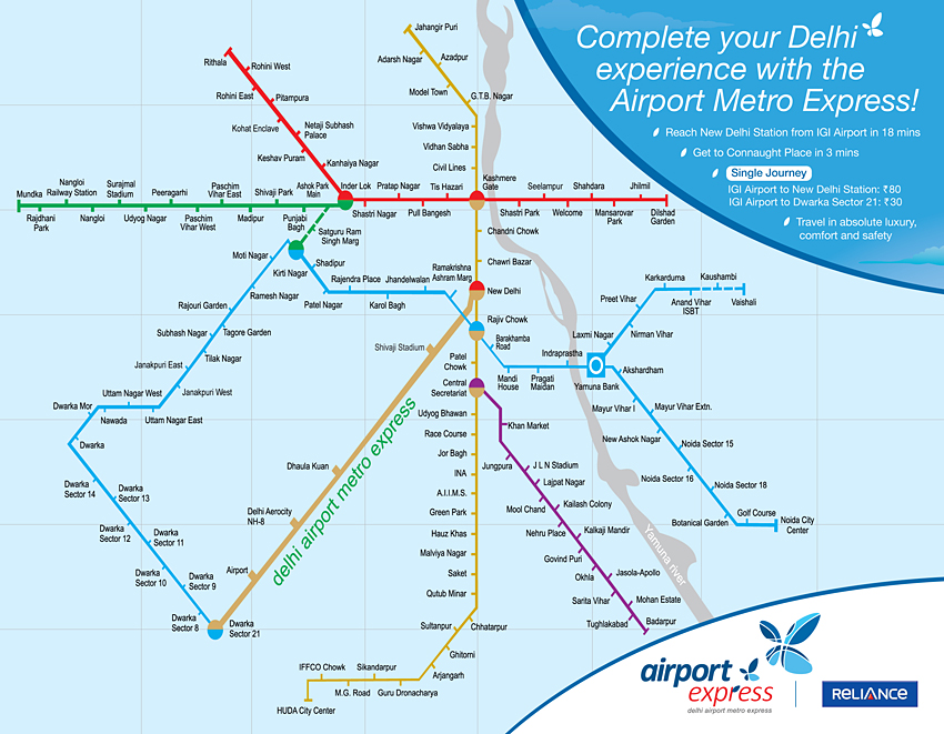 airport express metro route map Route Map Of Delhi Airport Metro Express Line Maps airport express metro route map