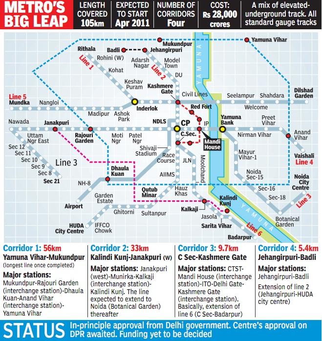 delhi metro phase 3 map